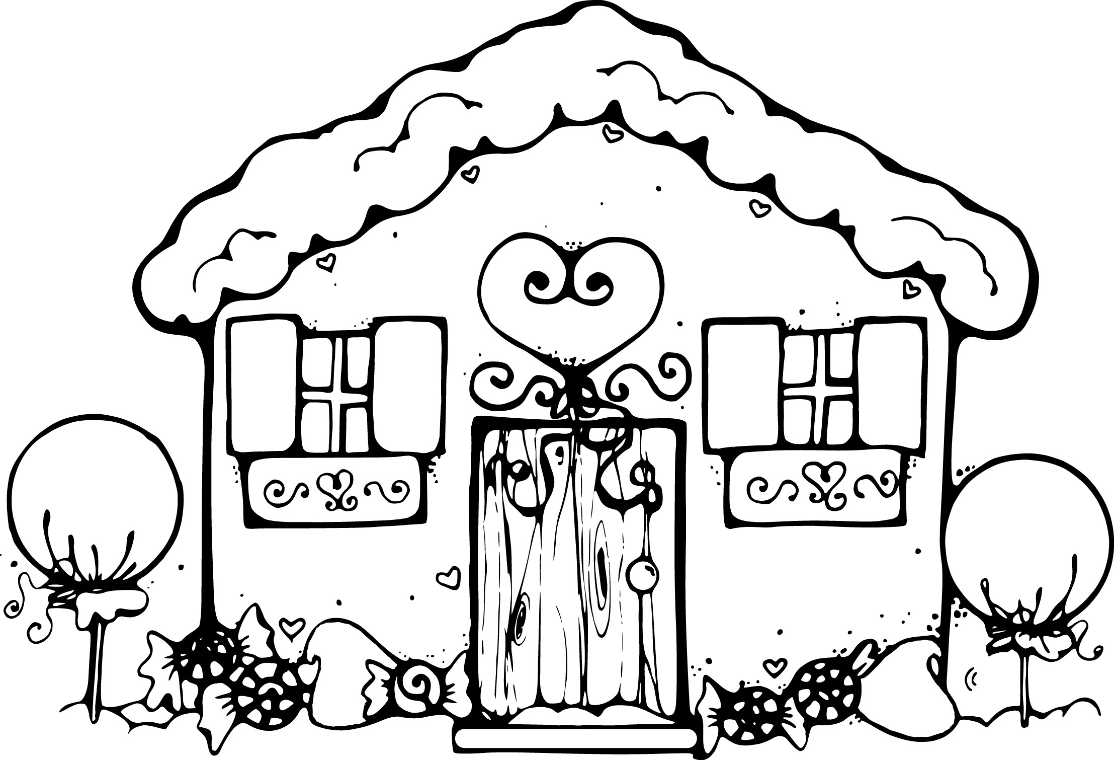 Gingerbread House Coloring Pages At Getdrawings