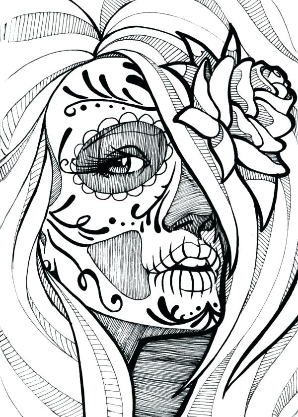 Sugar Skull Girl Coloring Pages Novocom Top