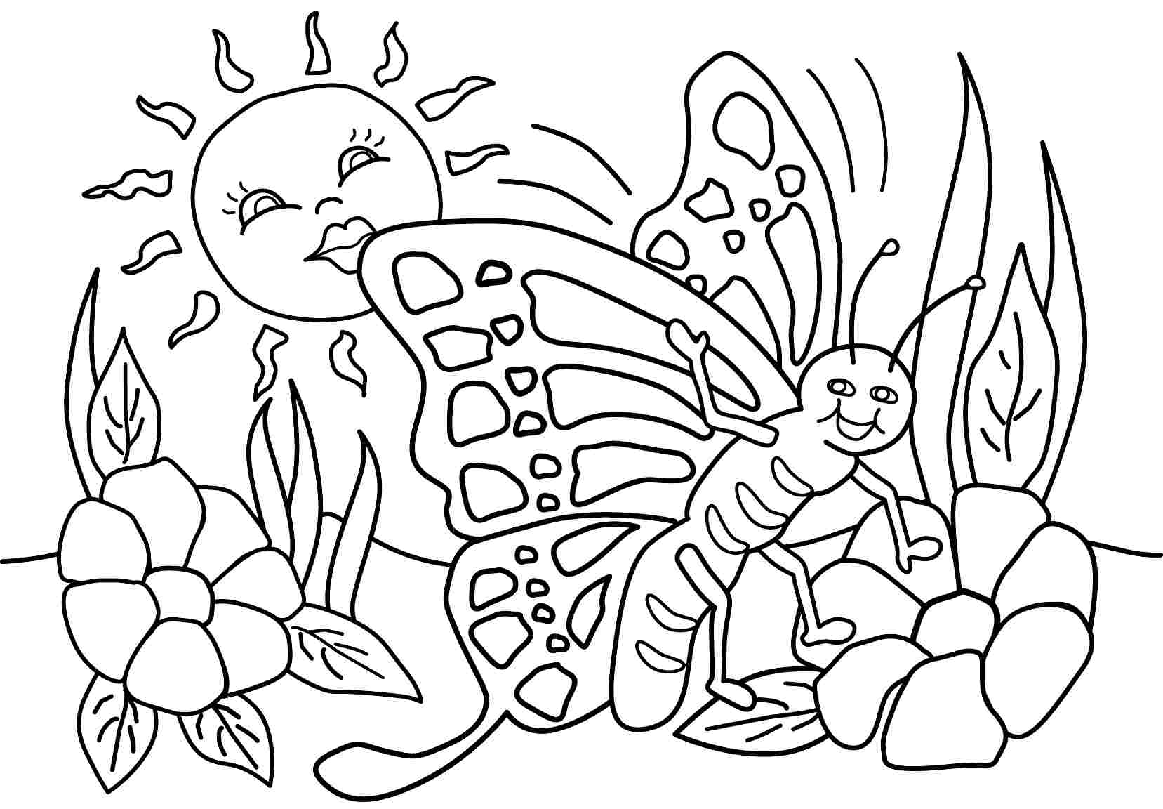 Happy Spring Coloring Pages At Getdrawings