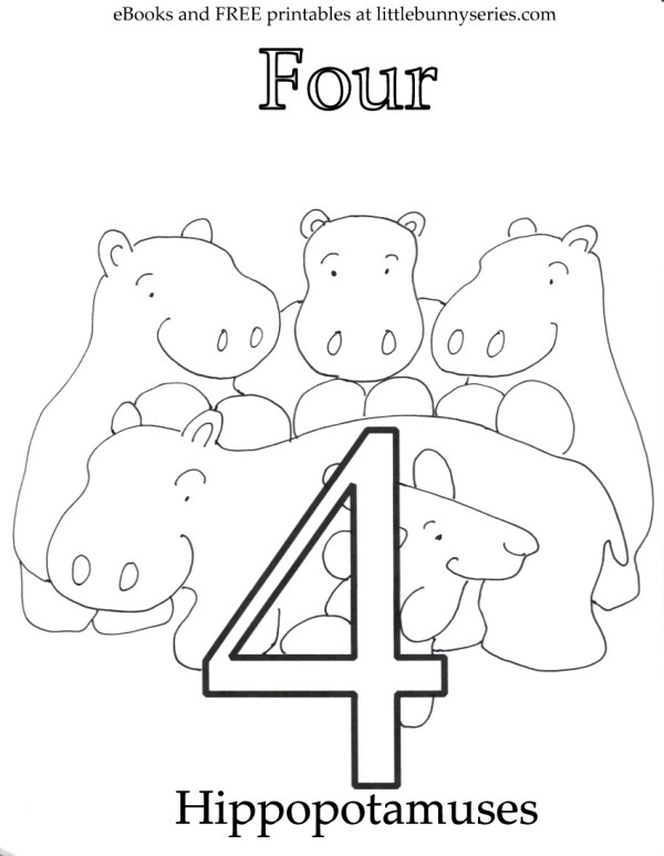 number 4 coloring page # 68