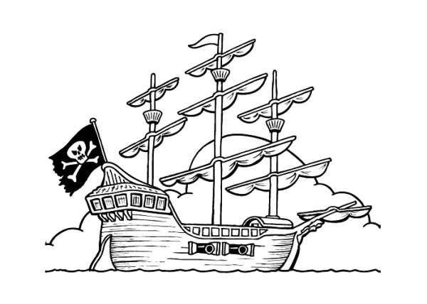 pirate ship coloring pages # 27
