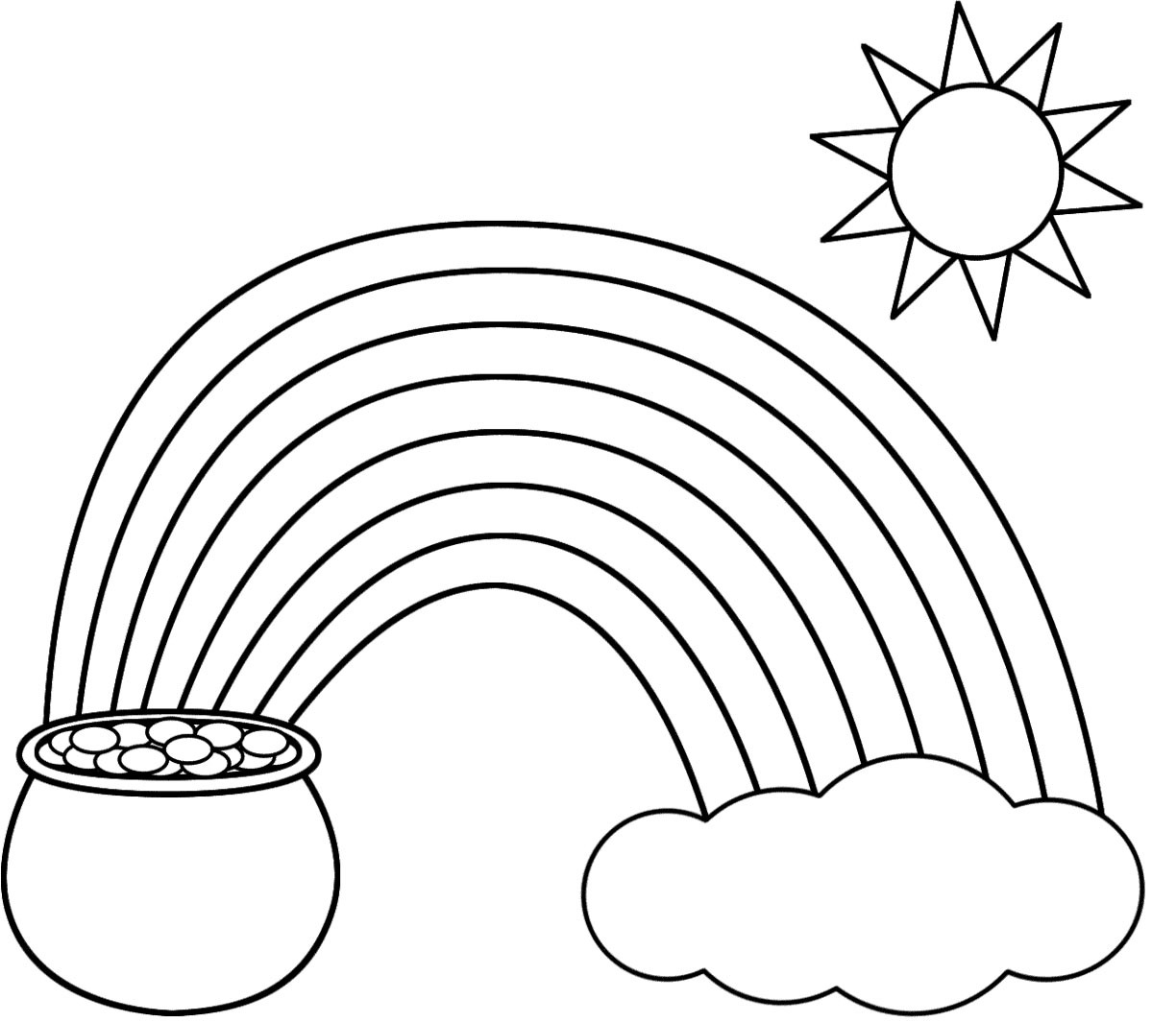 Rainbow And Pot Of Gold Coloring Pages At Getdrawings