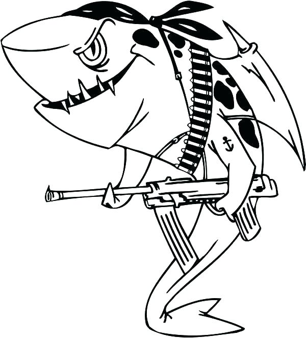 great white shark coloring page # 12