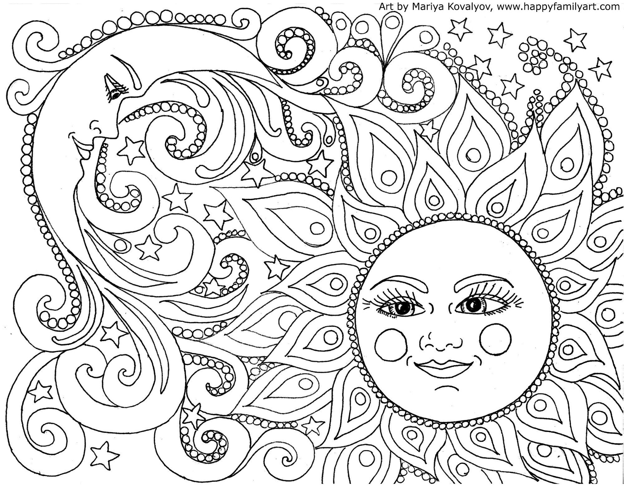 Sun Moon Coloring Pages At Getdrawings
