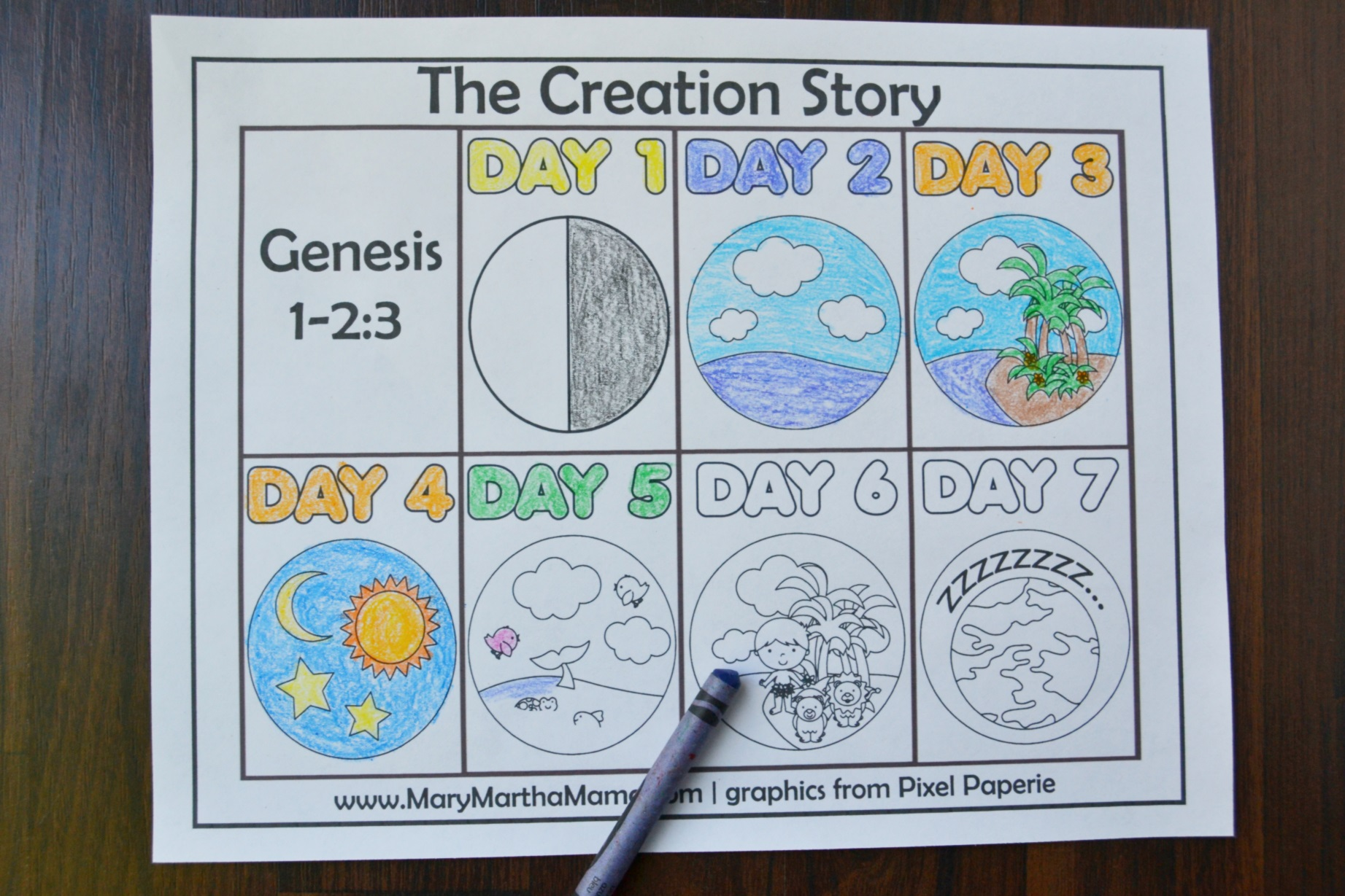 7 Days Of Creation Drawing At Getdrawings