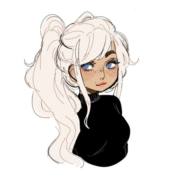 540x559 Girl With White Hair Drawing Cute Girls
