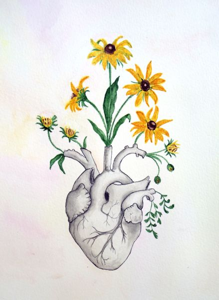 Love Flower Drawing at GetDrawings com   Free for personal use Love     2809x3841 Floral Heart Anatomy Painting Unique Love Gift Watercolor