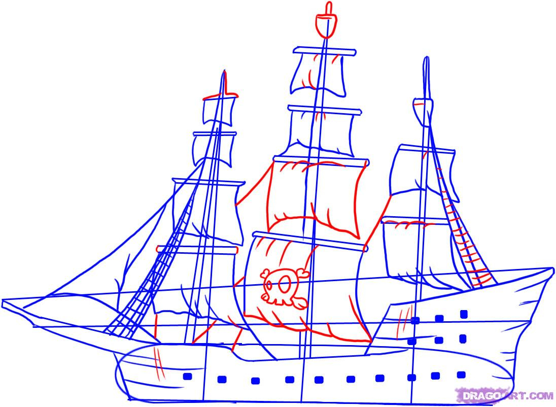 Simple Pirate Ship Drawing At Getdrawings