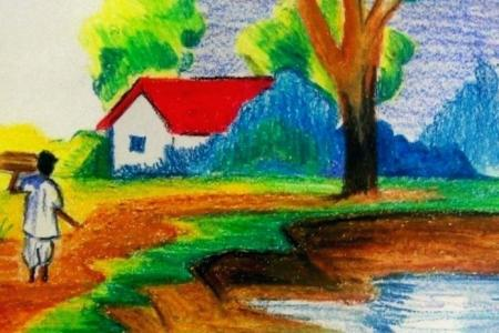 Village Scenery Drawing Easy