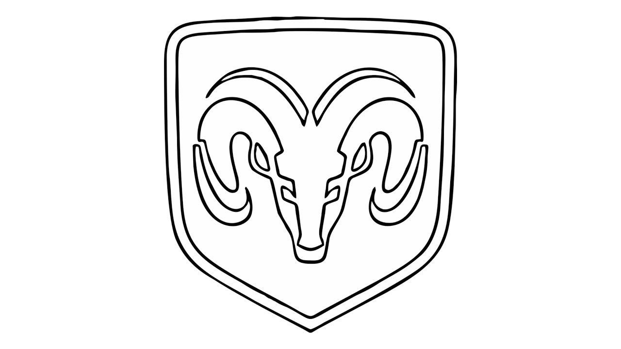 1280x720 how to draw the dodge ram logo symbol