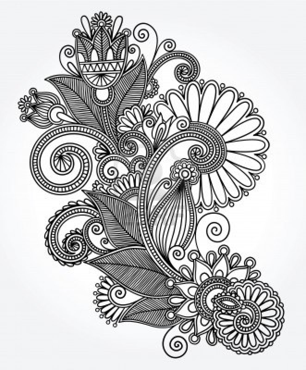 993x1200 original hand draw line art ornate flower design ukrainian