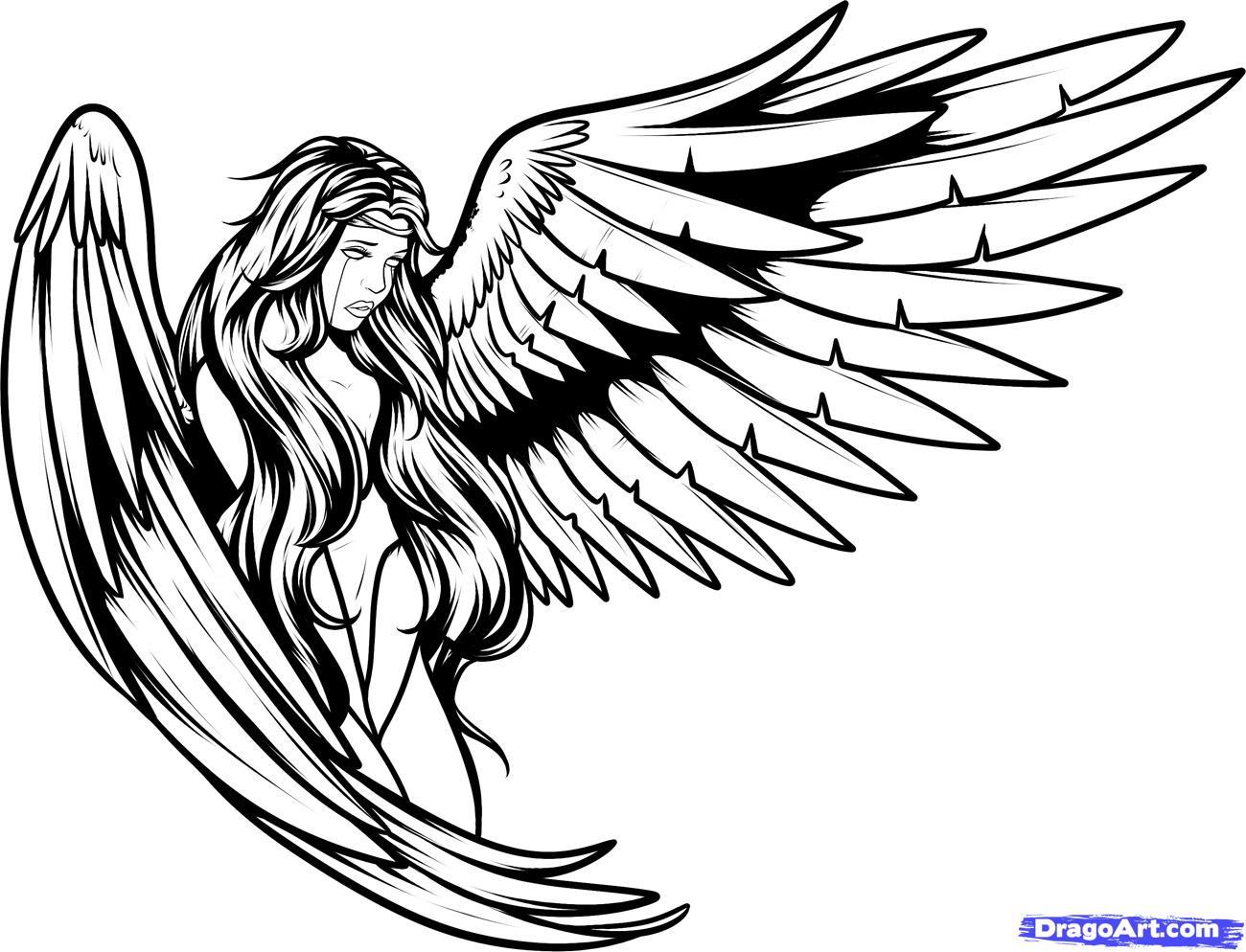Angel Wings Line Drawing At Getdrawings