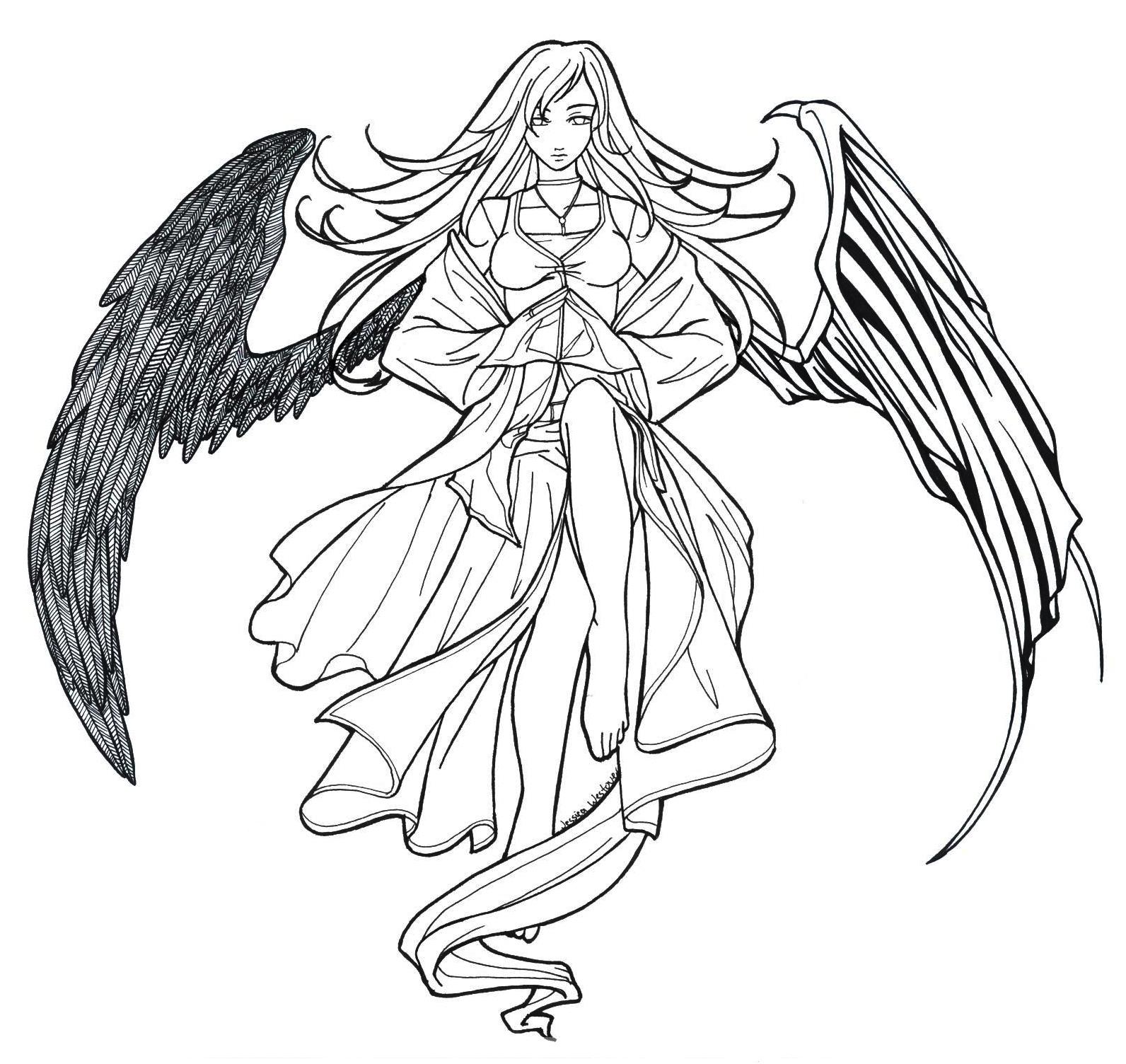Angels Line Drawing At Getdrawings