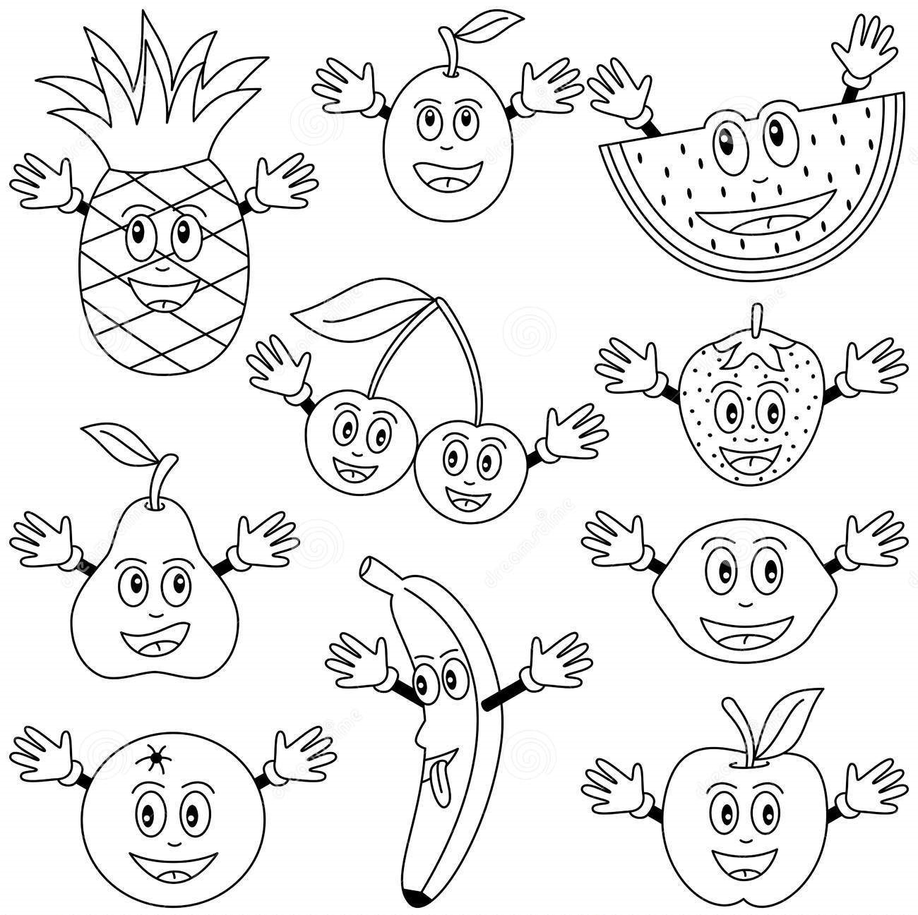 Black And White Fruit Worksheet
