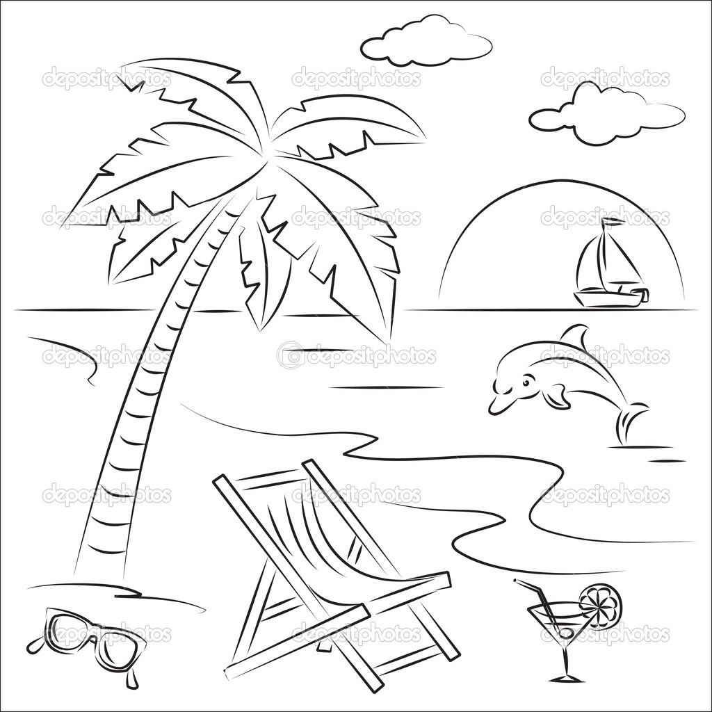 Beach Drawing Black And White At Getdrawings