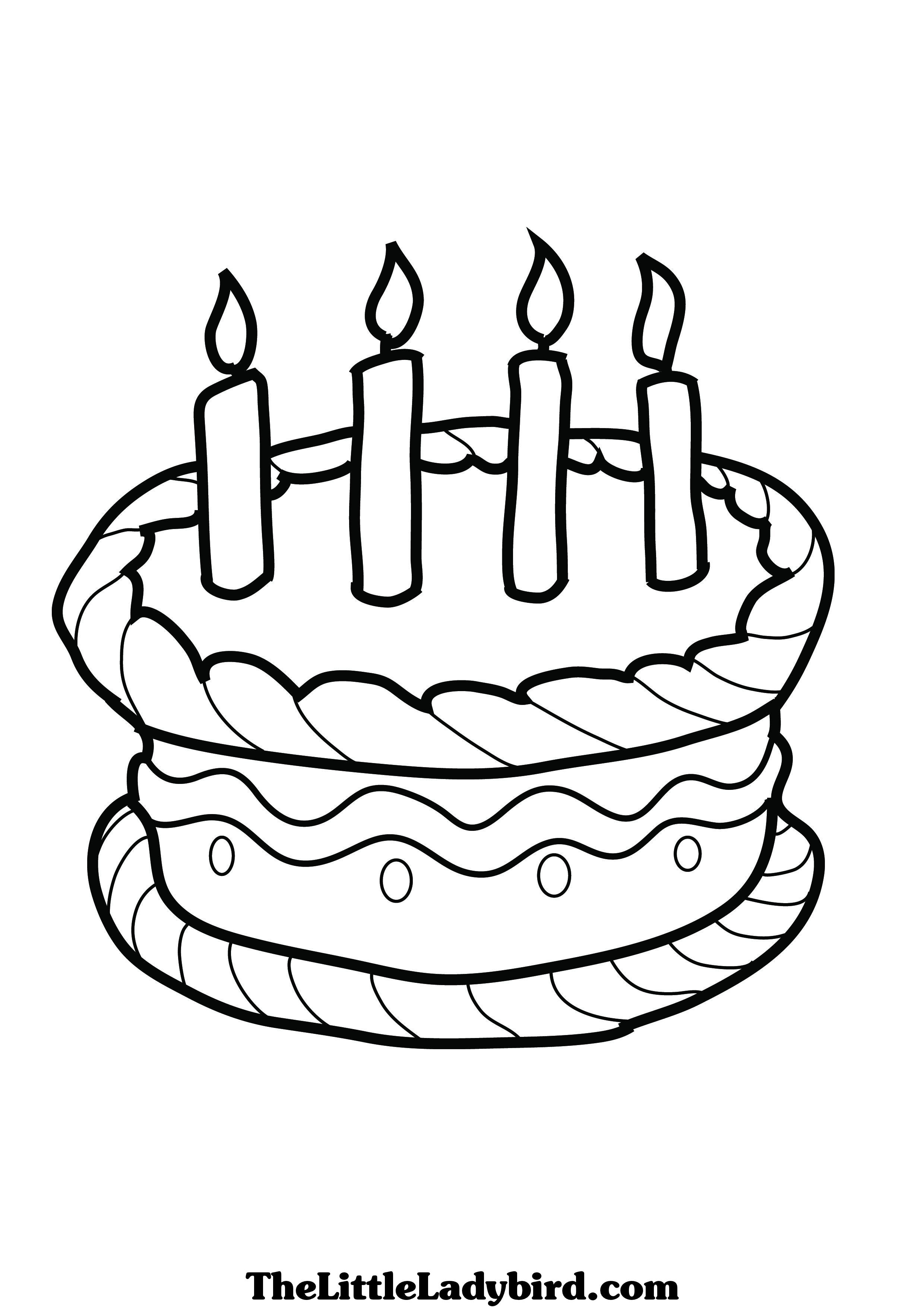 Birthday Cake Line Drawing At Getdrawings