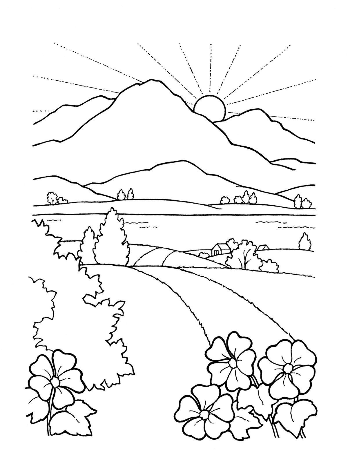 Black And White Sunset Drawing At Getdrawings