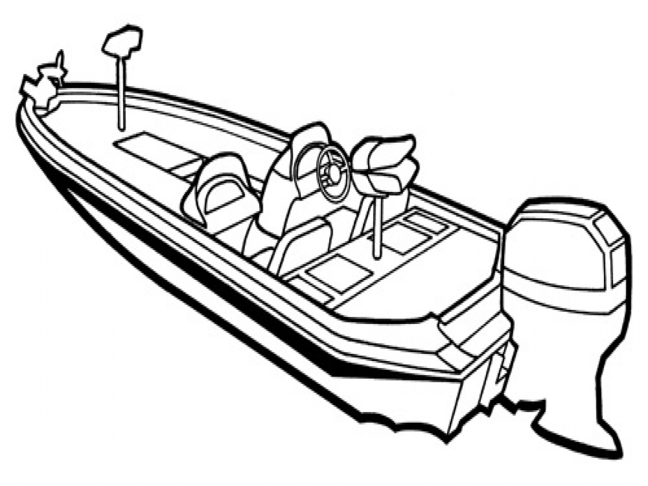 96 Boat Clipart Black And White