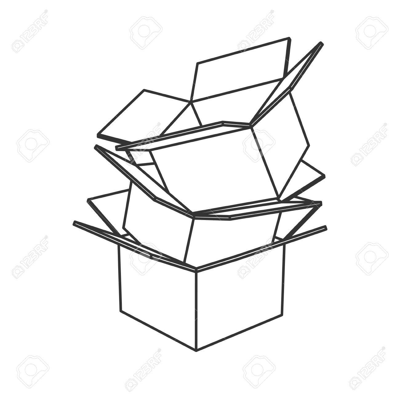 Cardboard Box Drawing At Getdrawings