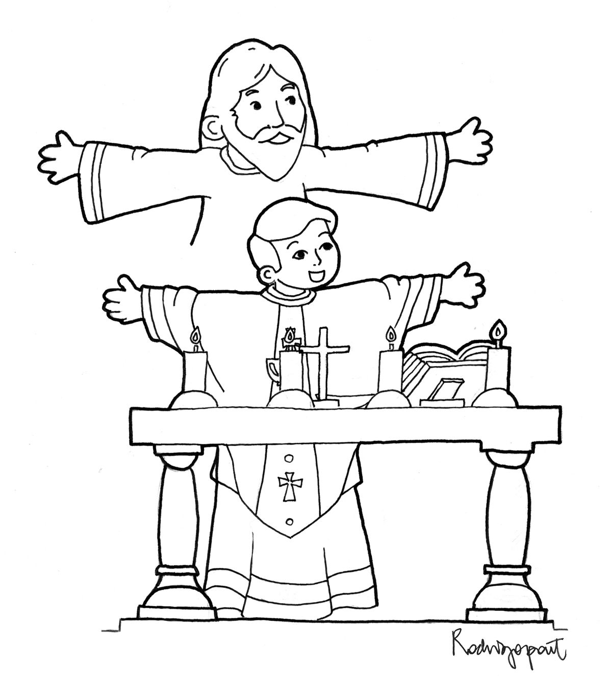 Catholic Priest Drawing At Getdrawings