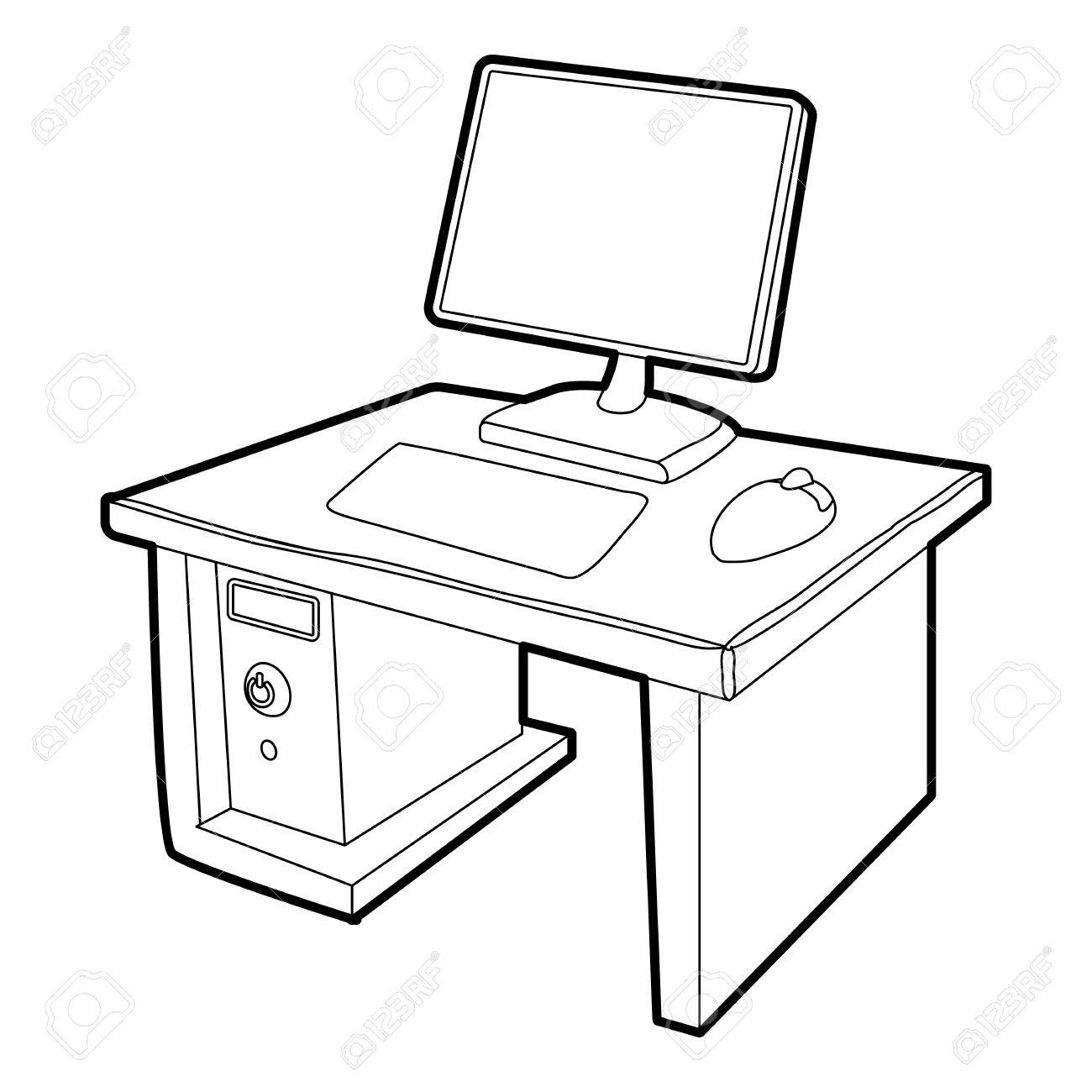 Computer Desk Drawing At Getdrawings
