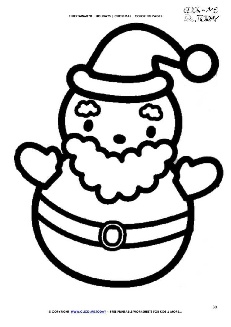 santa going down chimney coloring page