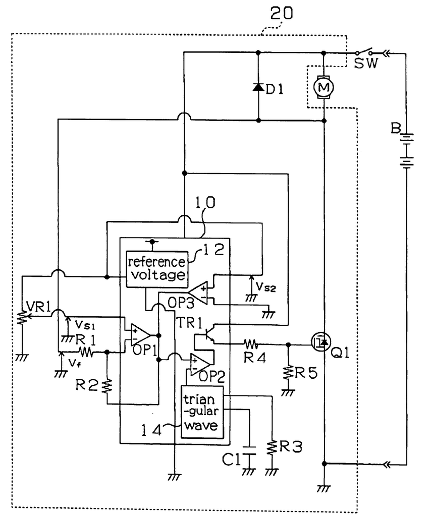 850x1037 patent us5814955 motor control circuit with a low voltage drawing