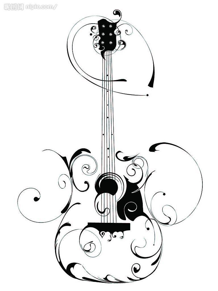 768x1024 guitar drawings clipart