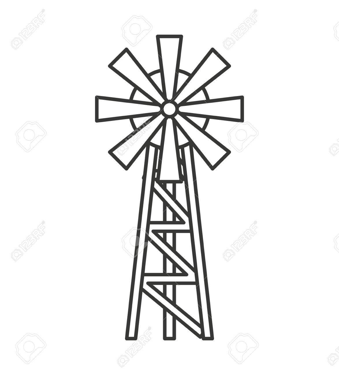 Farm Windmill Drawing At Getdrawings