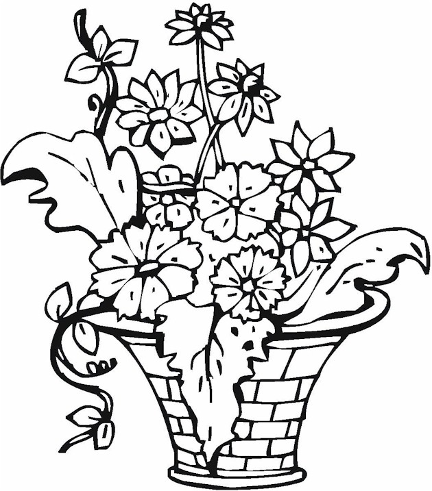 Flowers Vase Drawing at GetDrawings.com | Free for ... | colouring pages flowers in a vase