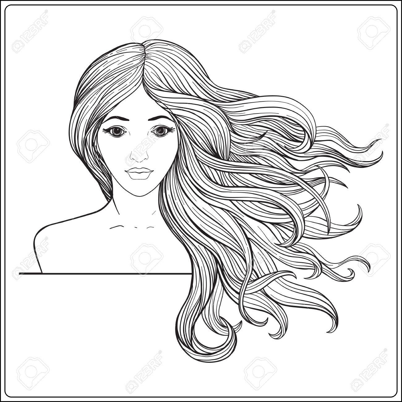 Girl With Long Hair Drawing At Getdrawings