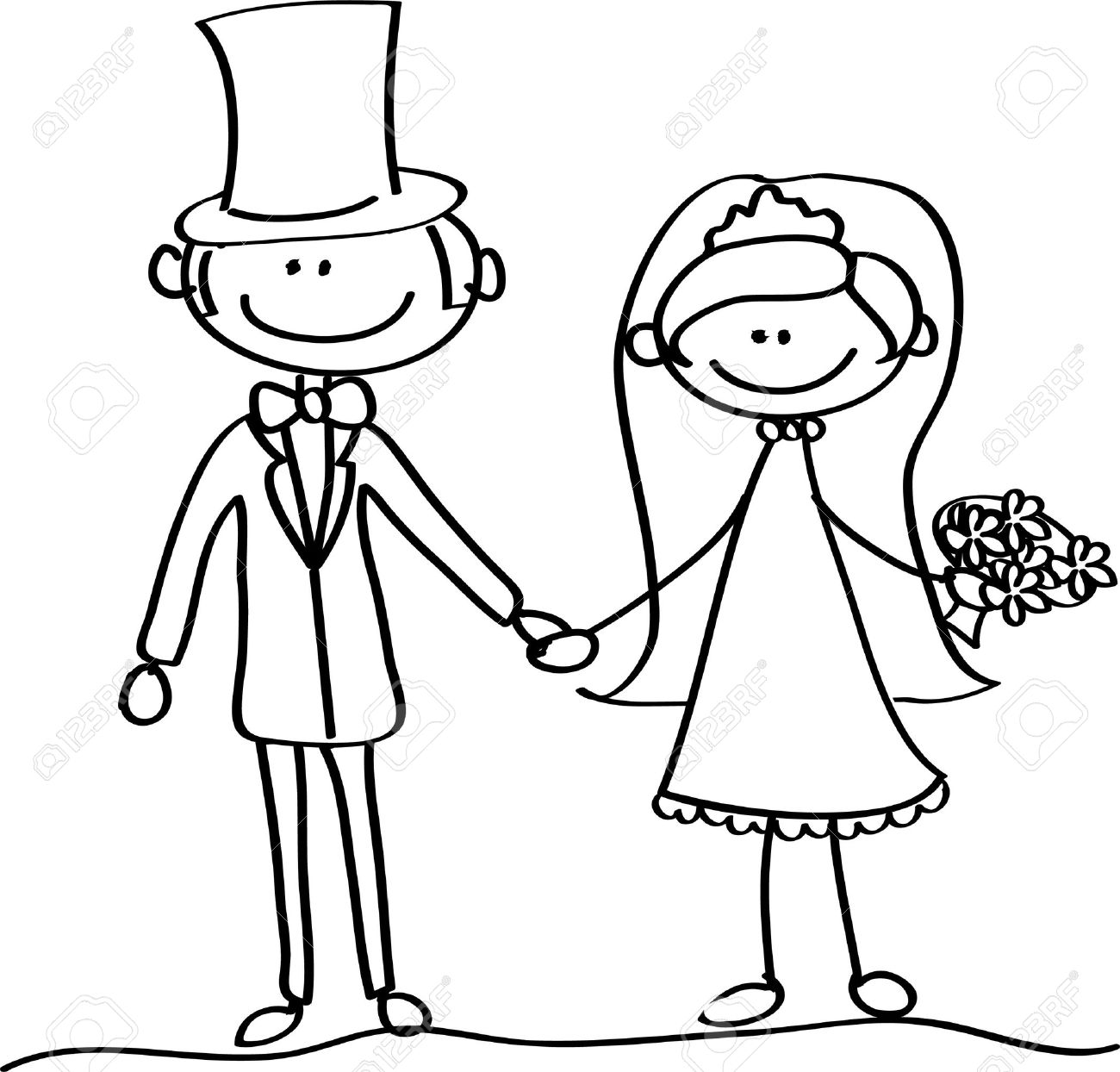 Groom And Bride Drawing At Getdrawings