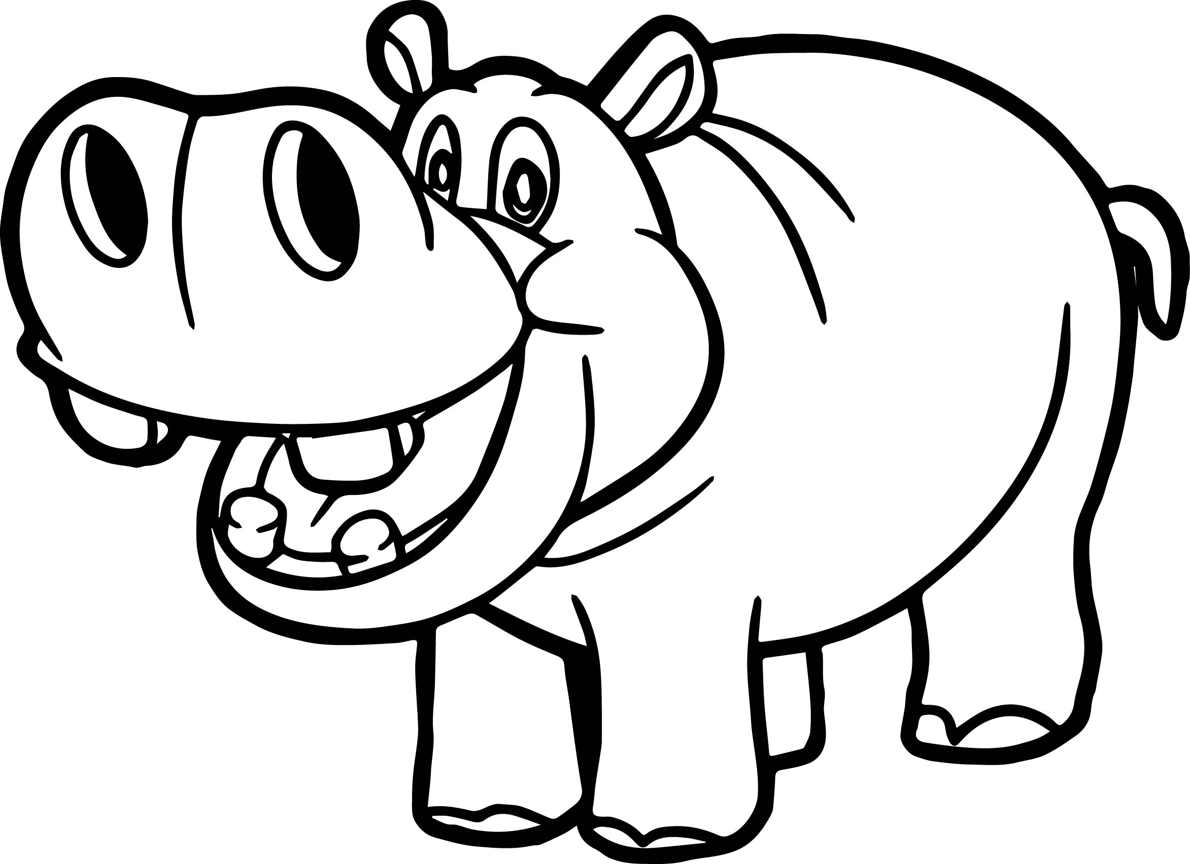 Hippo Outline Drawing At Getdrawings