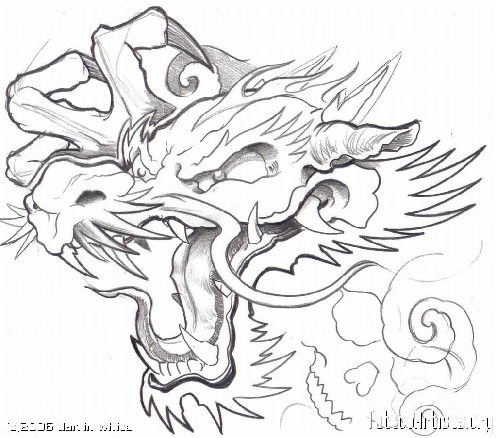 Japanese Dragon Head Drawing At Getdrawings