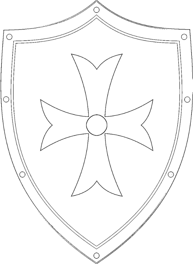 Medieval shield and swords coloring pages
