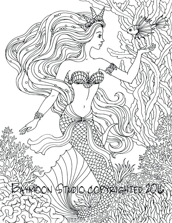 mermaid coloring pages for adults # 53