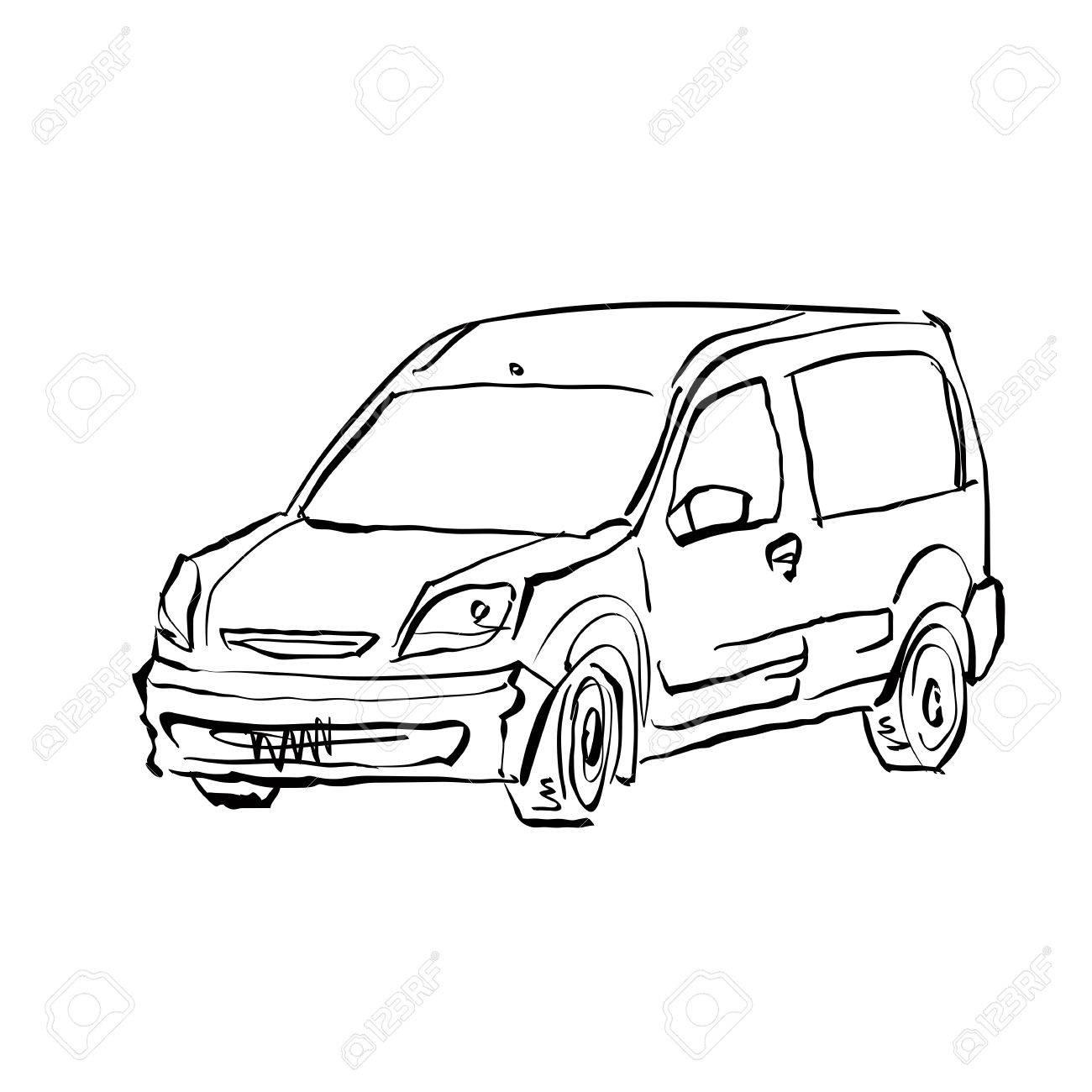 1300x1300 black and white hand drawn car on white background illustration