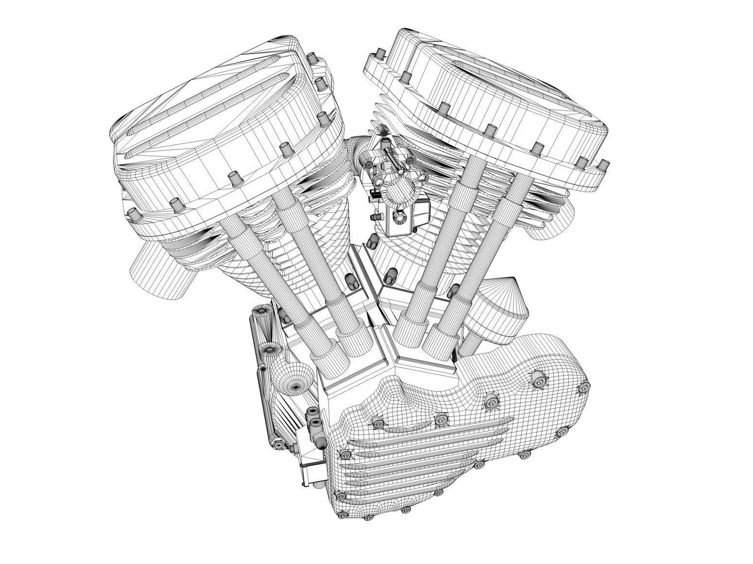 1550x1162 panhead harley motorcycle engine 3d cgtrader