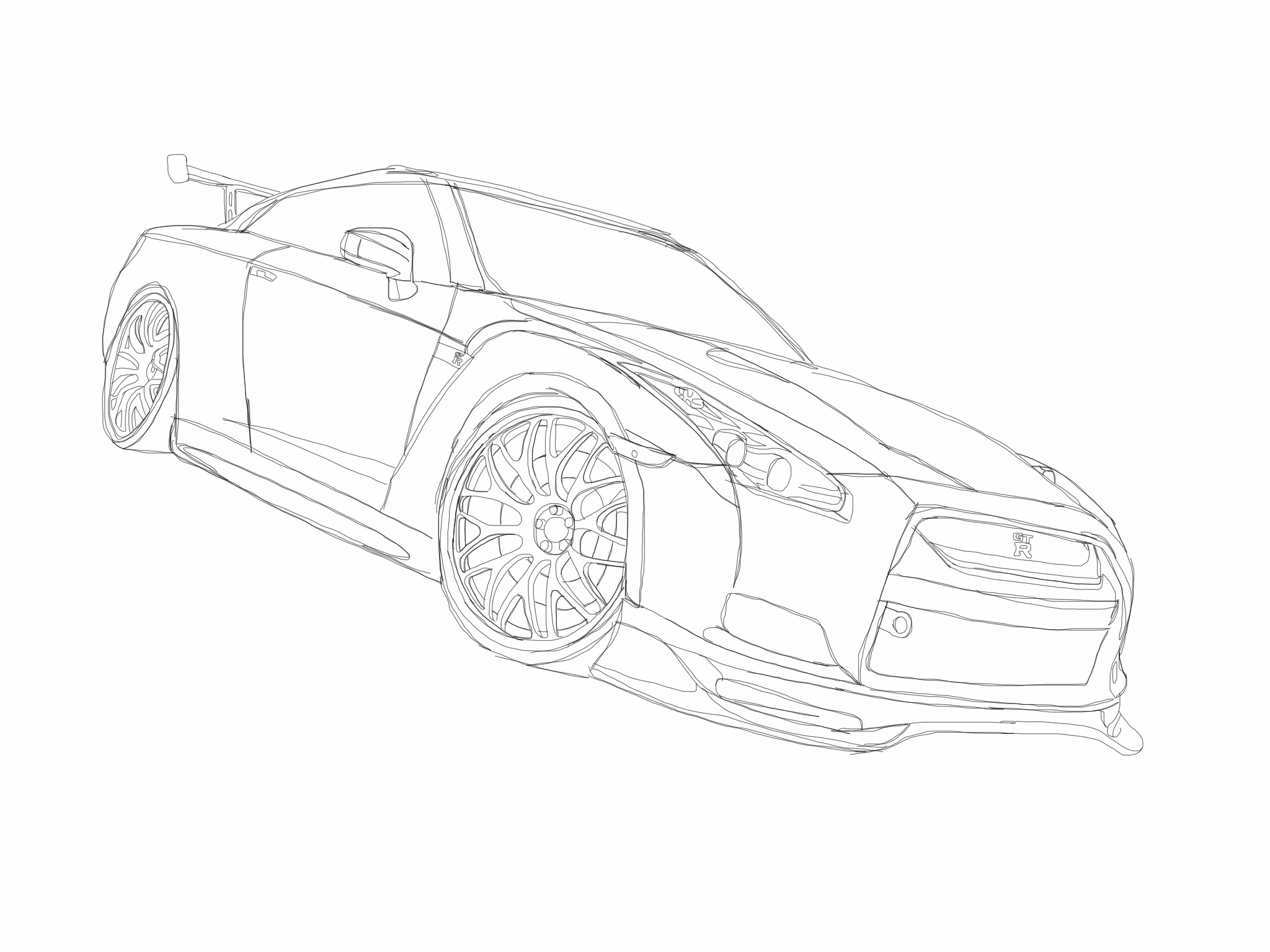2048x1536 nissan gt r sketch made on sketchbook express for ipad