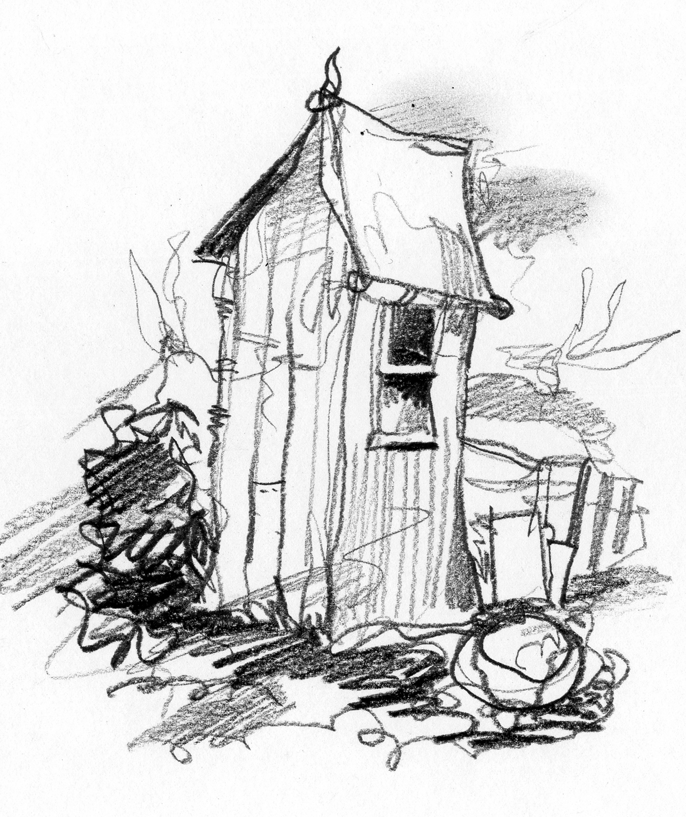 Outhouse Sketch At Paintingvalley