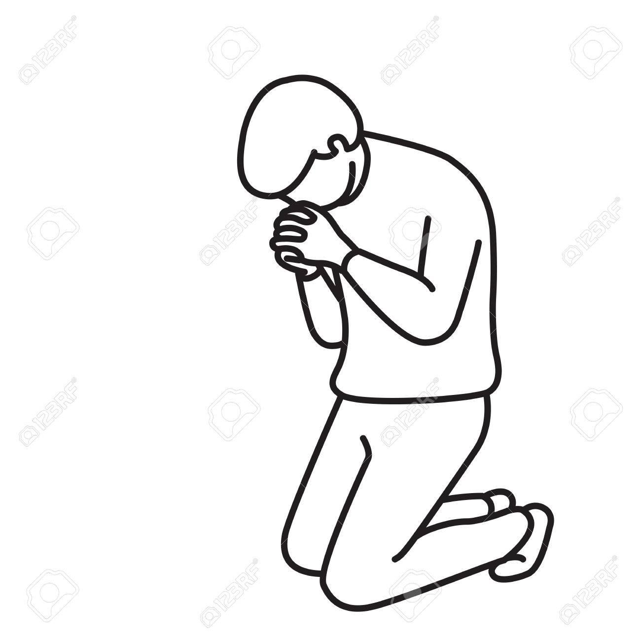 Person Praying Drawing At Getdrawings