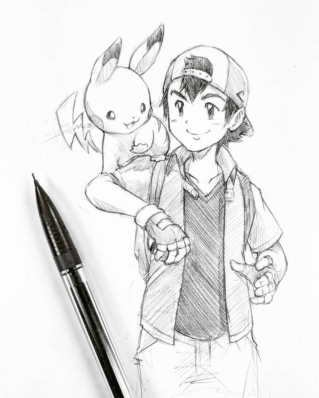 Pikachu pencil drawing