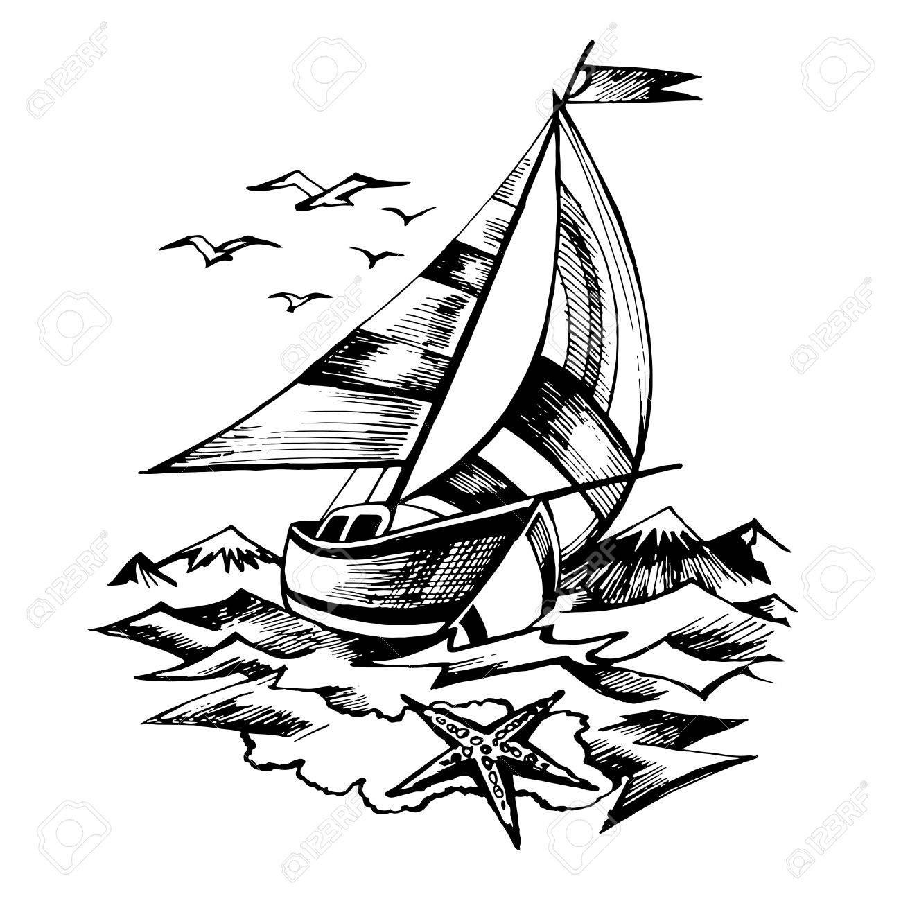 Sail Boat Line Drawing At Getdrawings
