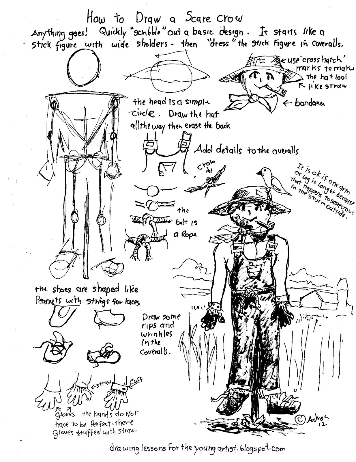 Scary Scarecrow Drawing At Getdrawings