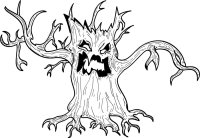 halloween tree drawing