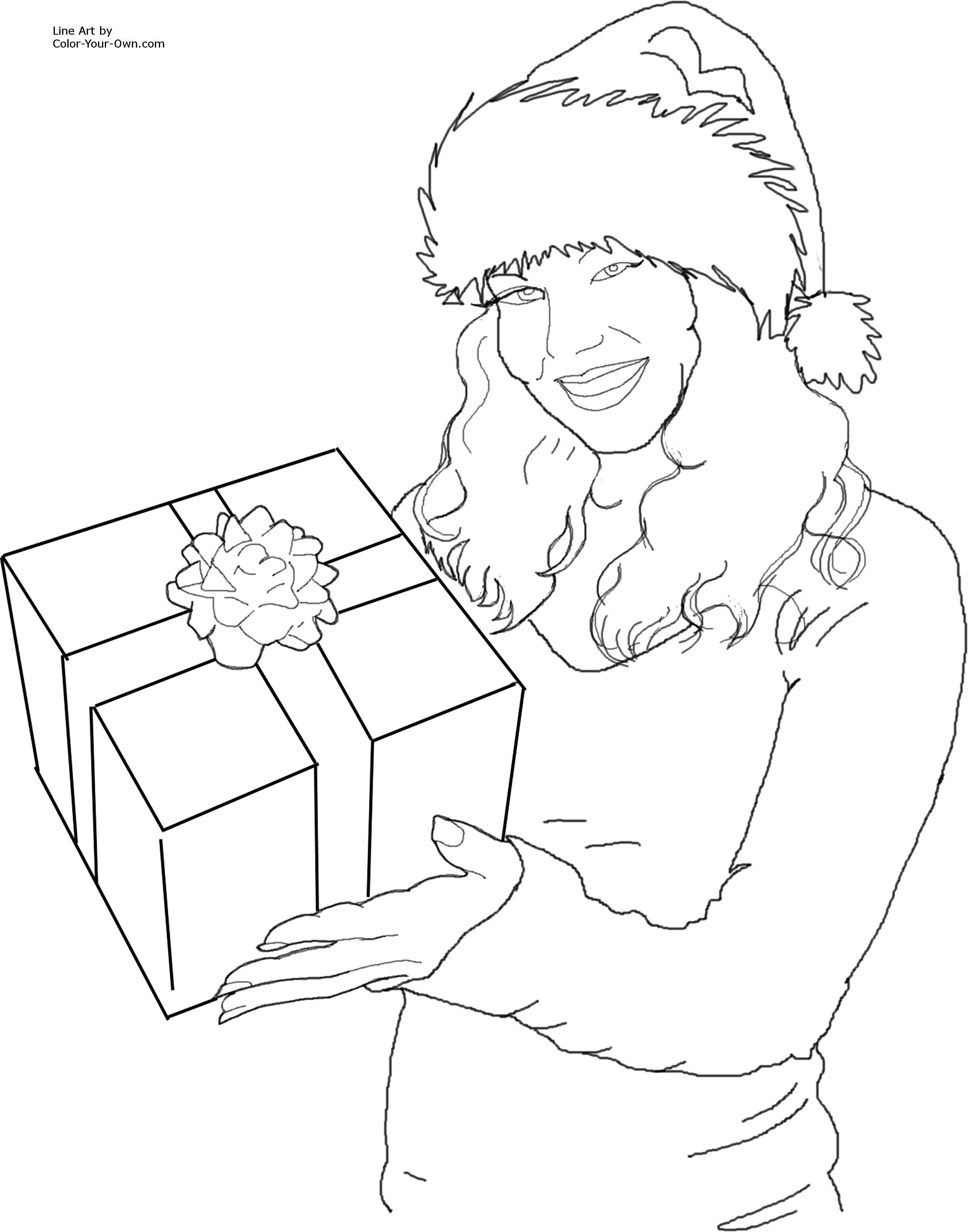 2400x3056 christmas santa 39s helper with a gift coloring page