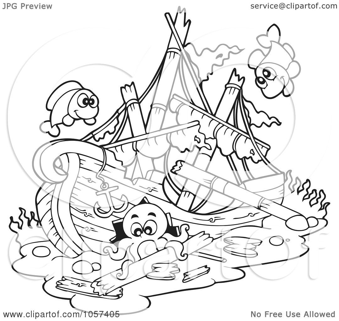 Sunken Pirate Ship Drawing At Getdrawings