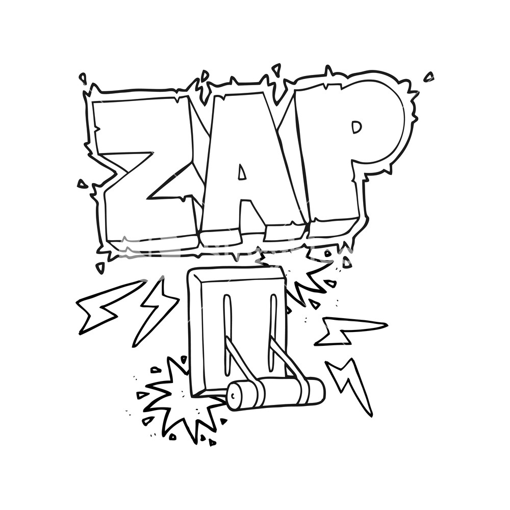 1000x1000 freehand drawn black and white cartoon electrical switch zapping