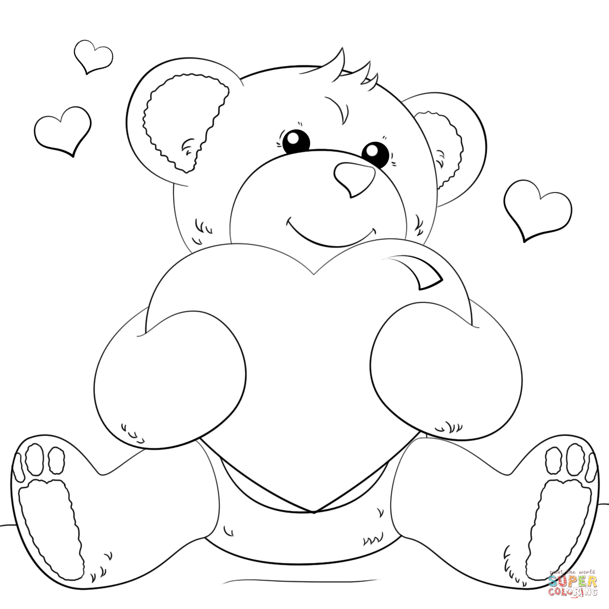Teddy Bear Holding A Heart Drawing At Getdrawings