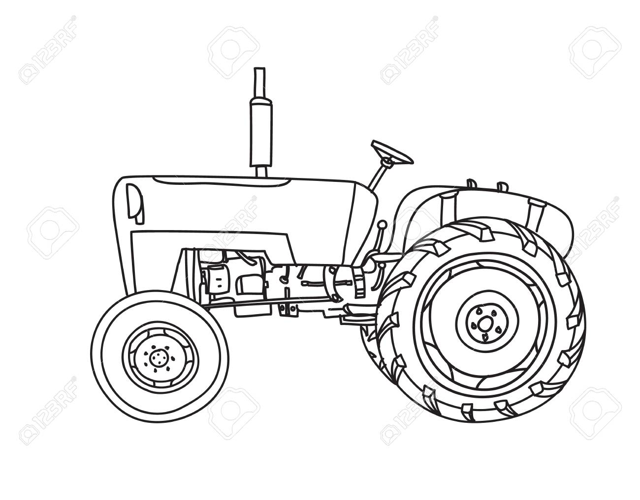 Tractor Line Drawing At Getdrawings
